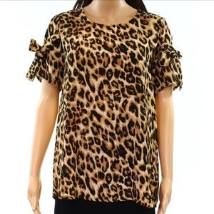 Pleione Leopard Top with Bow Tie Sleeves